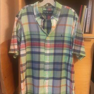 Ralph Lauren short sleeve plaid button down Size L